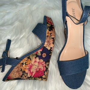 Denim Wedges  sz 7